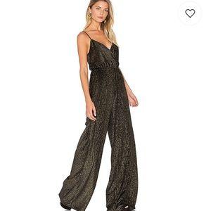 New show me your mumu jagger jumpsuit golden glam
